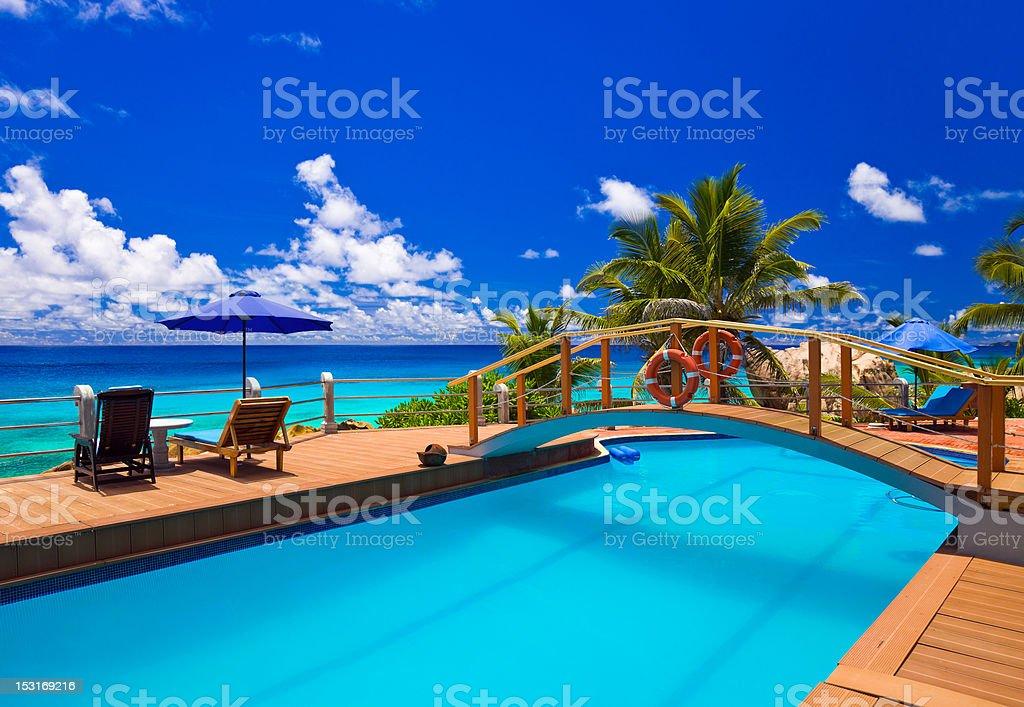 Pool at tropical beach royalty-free stock photo