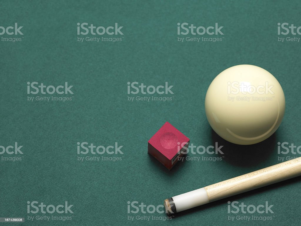 Pool ball, chalk and cue royalty-free stock photo