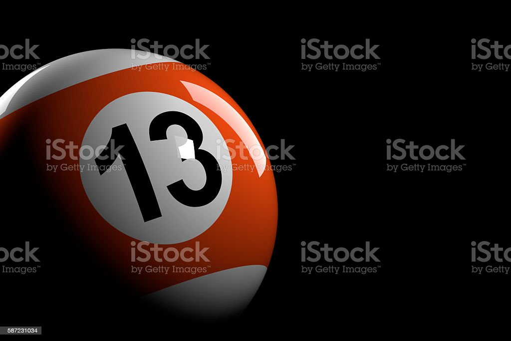 Pool Ball Number 13, 3D Rendering stock photo