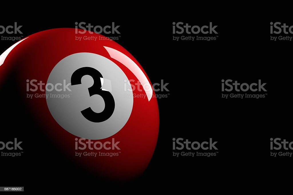 Pool Ball Number 3, 3D Rendering stock photo