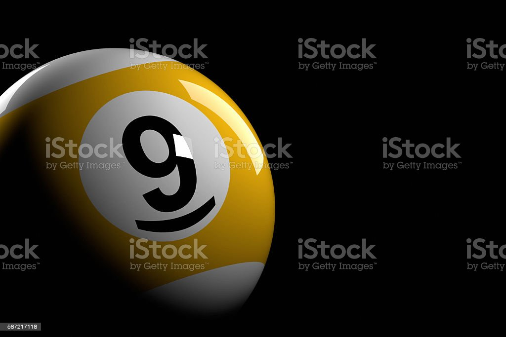 Pool Ball Number 9, 3D Rendering stock photo