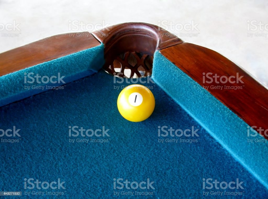 Pool ball with number 1. stock photo