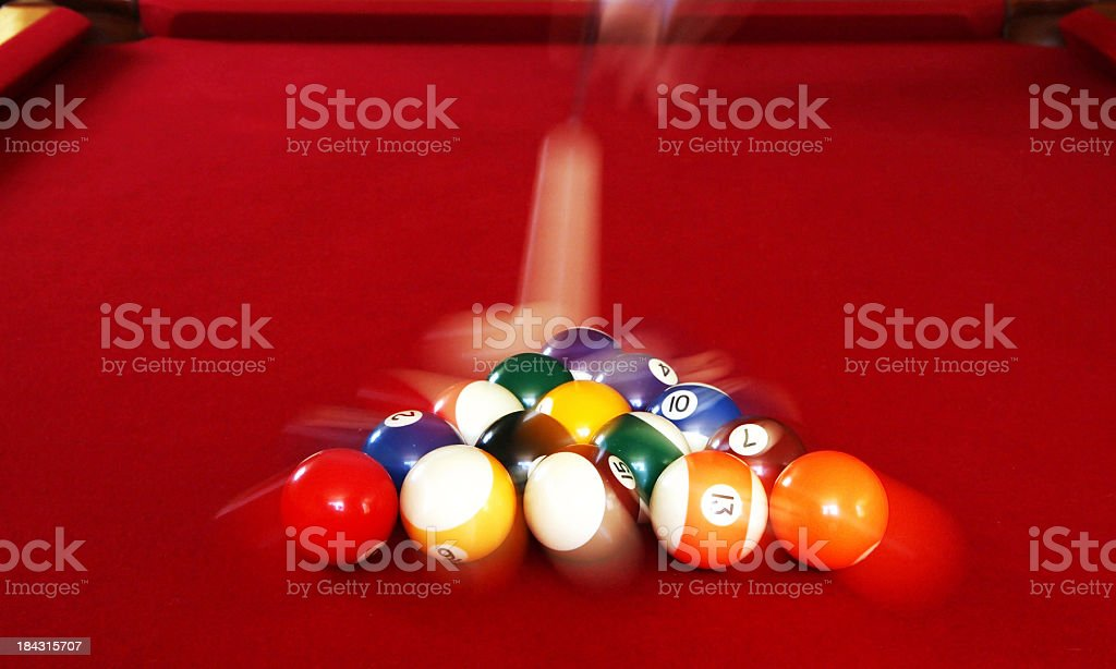 Pool Balls being broken with motion blurr stock photo