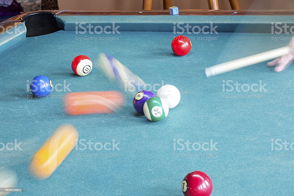 Pool Balls in Motion stock photo
