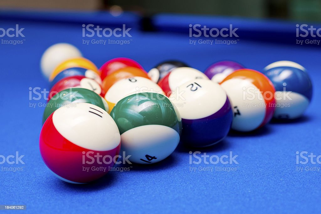 Pool balls on table stock photo