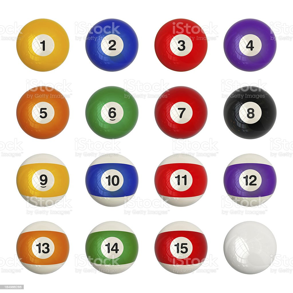 Pool balls set stock photo