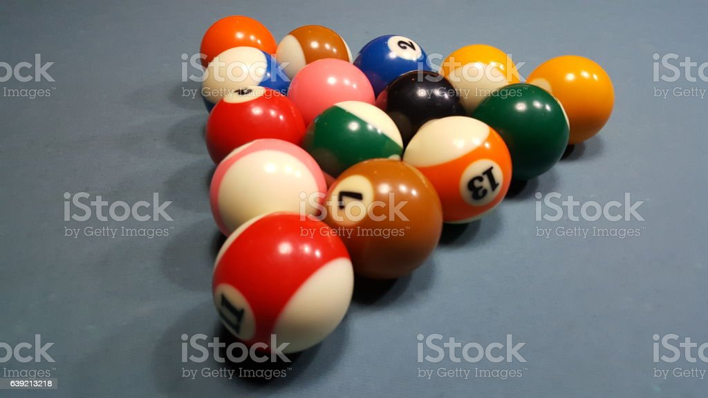 Pool balls set ready stock photo