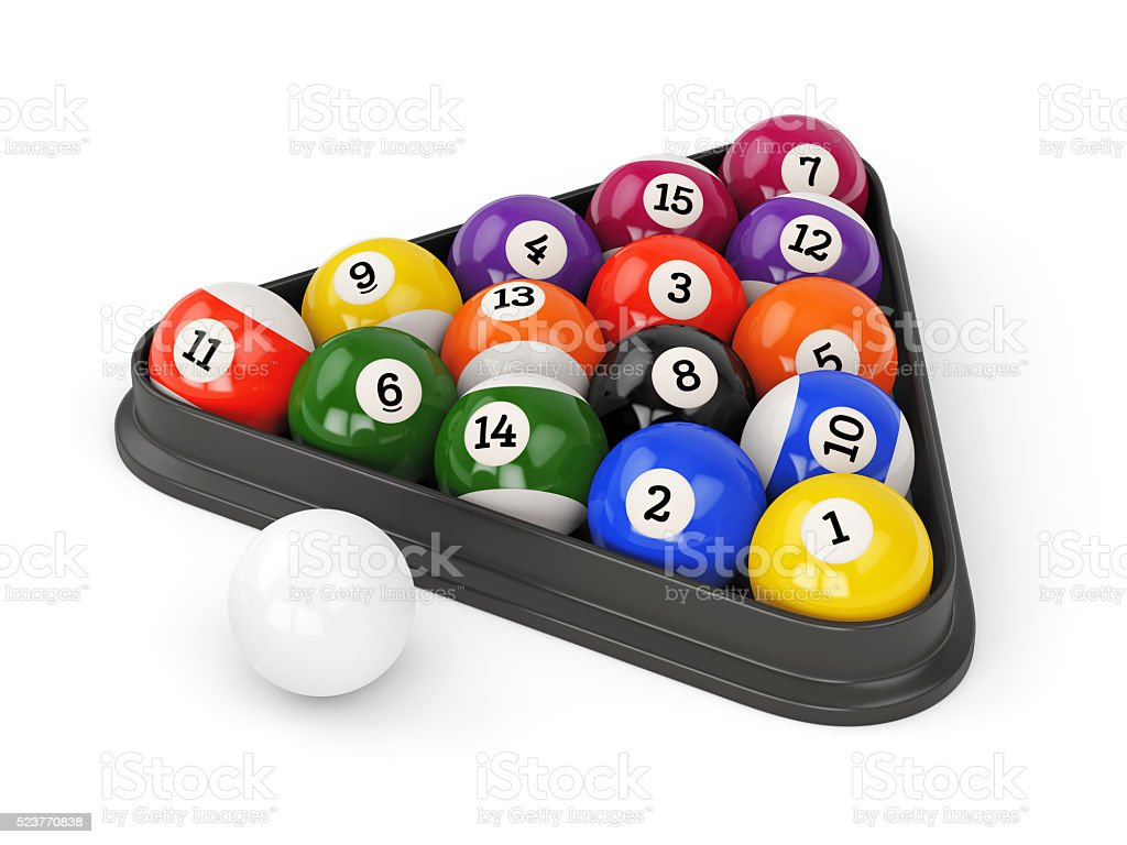 Pool balls triangle stock photo