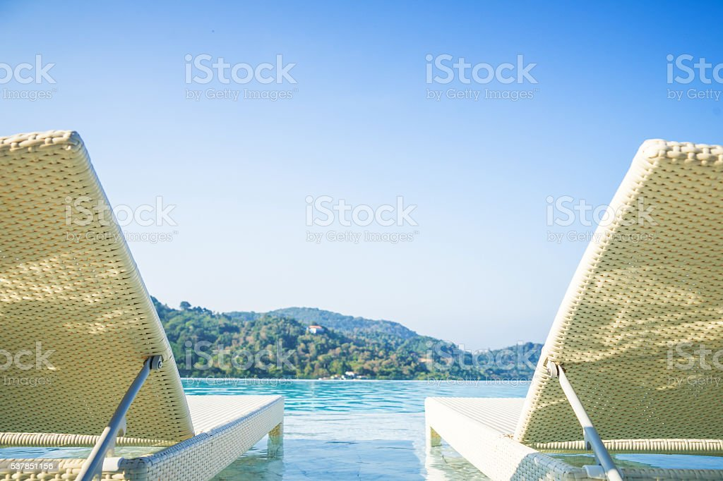 pool bed and blue sky white cloud with horizontal stock photo