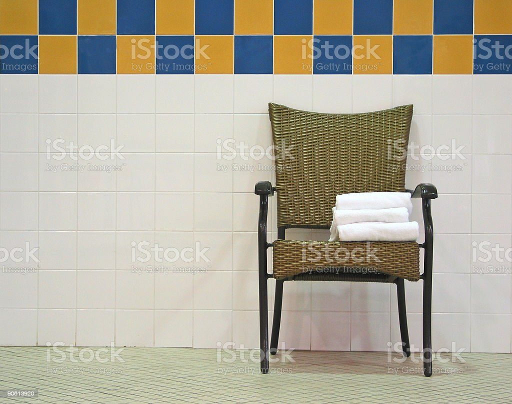 Pool Chair and Towels stock photo