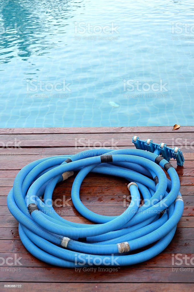 Pool Cleaning hose stock photo
