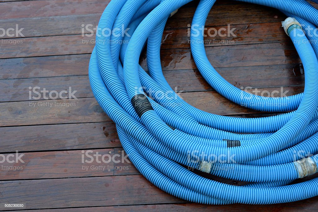 Pool Cleaning pipe stock photo