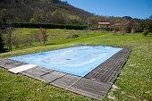 pool closed in green meadow
