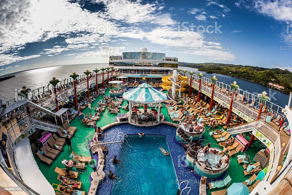 Pool Deck of the Norwegian Gem stock photo