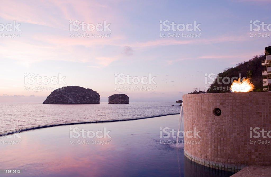 Pool Dusk View in Puerto Vallarta Mexico royalty-free stock photo