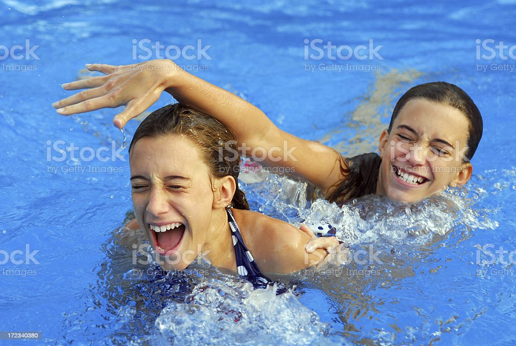 Pool Fight royalty-free stock photo