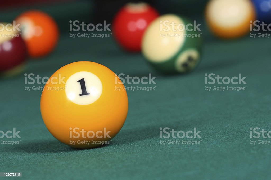 Pool game balls on the table stock photo