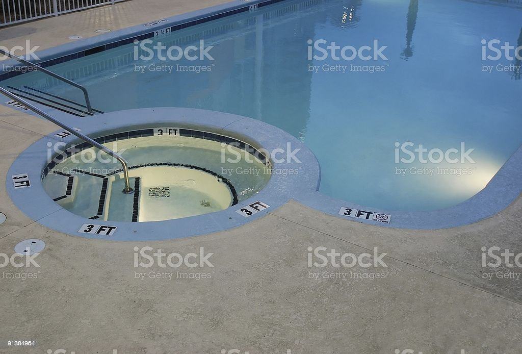 Pool & Jacuzzi at Twilight stock photo