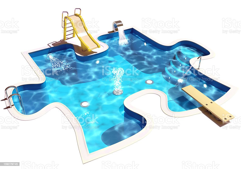 Pool in form of a puzzle stock photo