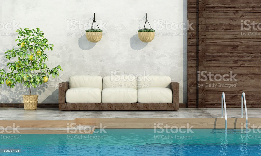 Pool in rustic style stock photo