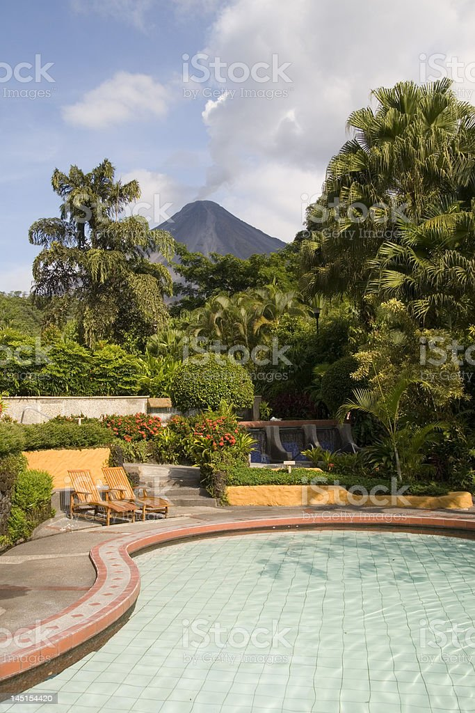Pool in tabacon springs Cost Rica stock photo