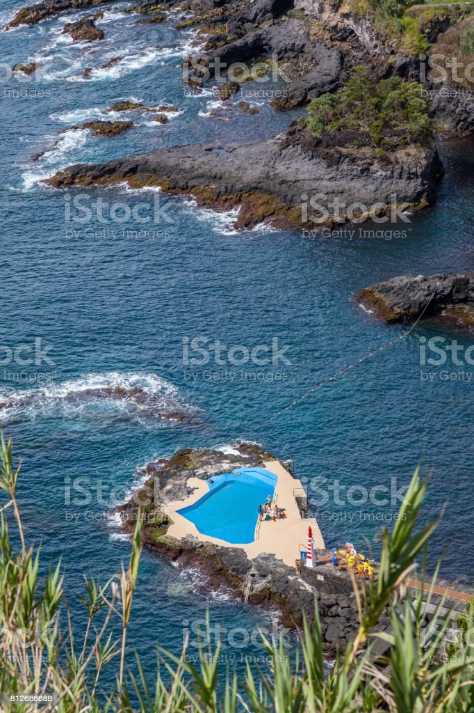 Pool in the Sea during a summer day stock photo