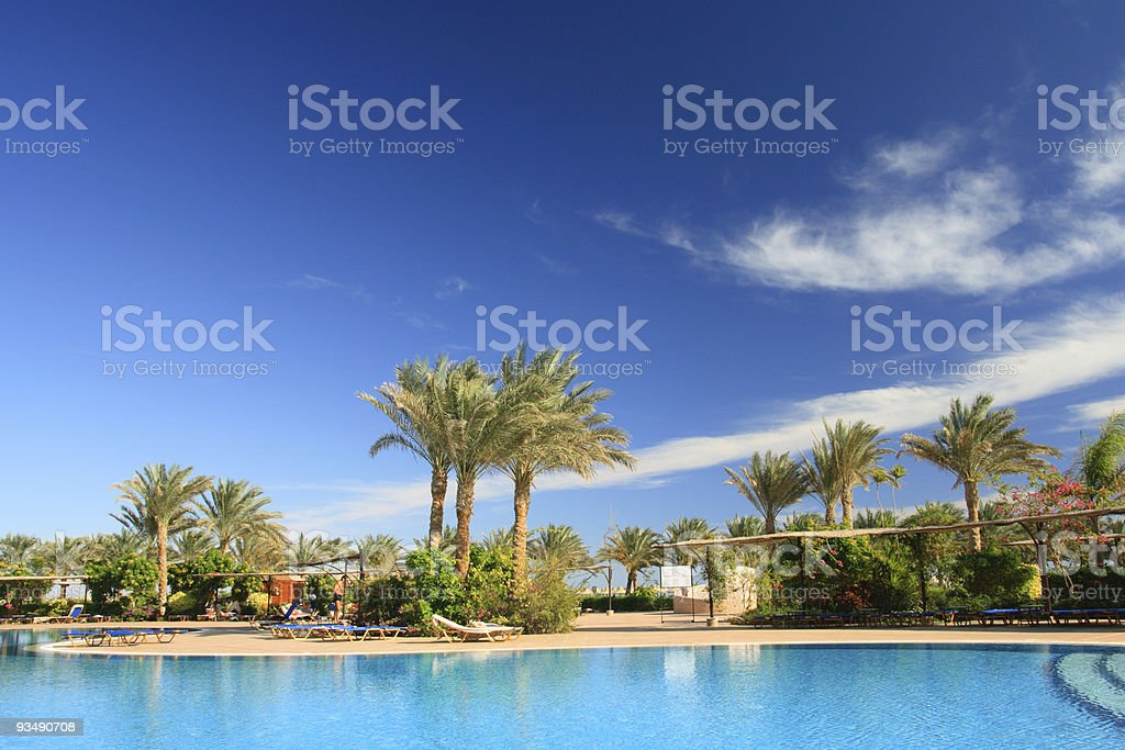 Pool in the tropical hotel, Egypt, Sharm al-Sheikh stock photo