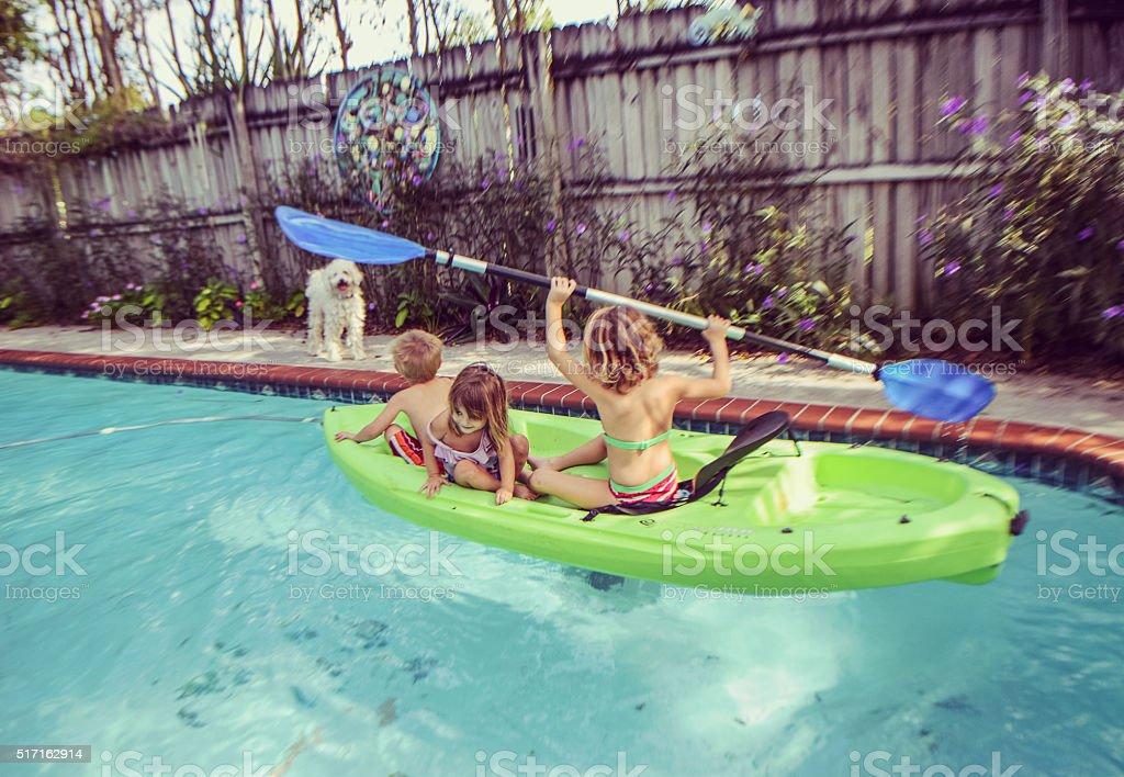Pool Kayaking stock photo