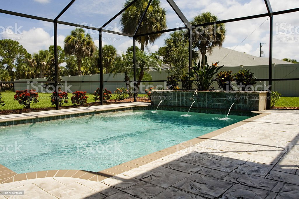 Pool Lanai with screen enclosure stock photo
