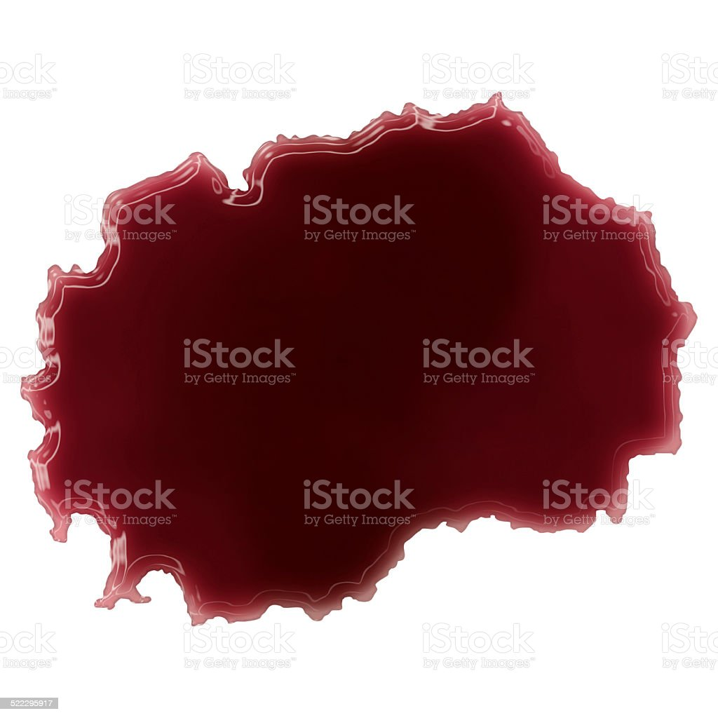 Pool of blood (or wine) shaping Macedonia.(series) stock photo