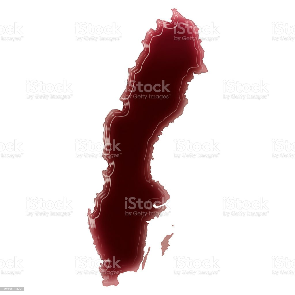 Pool of blood (or wine) shaping Sweden.(series) stock photo