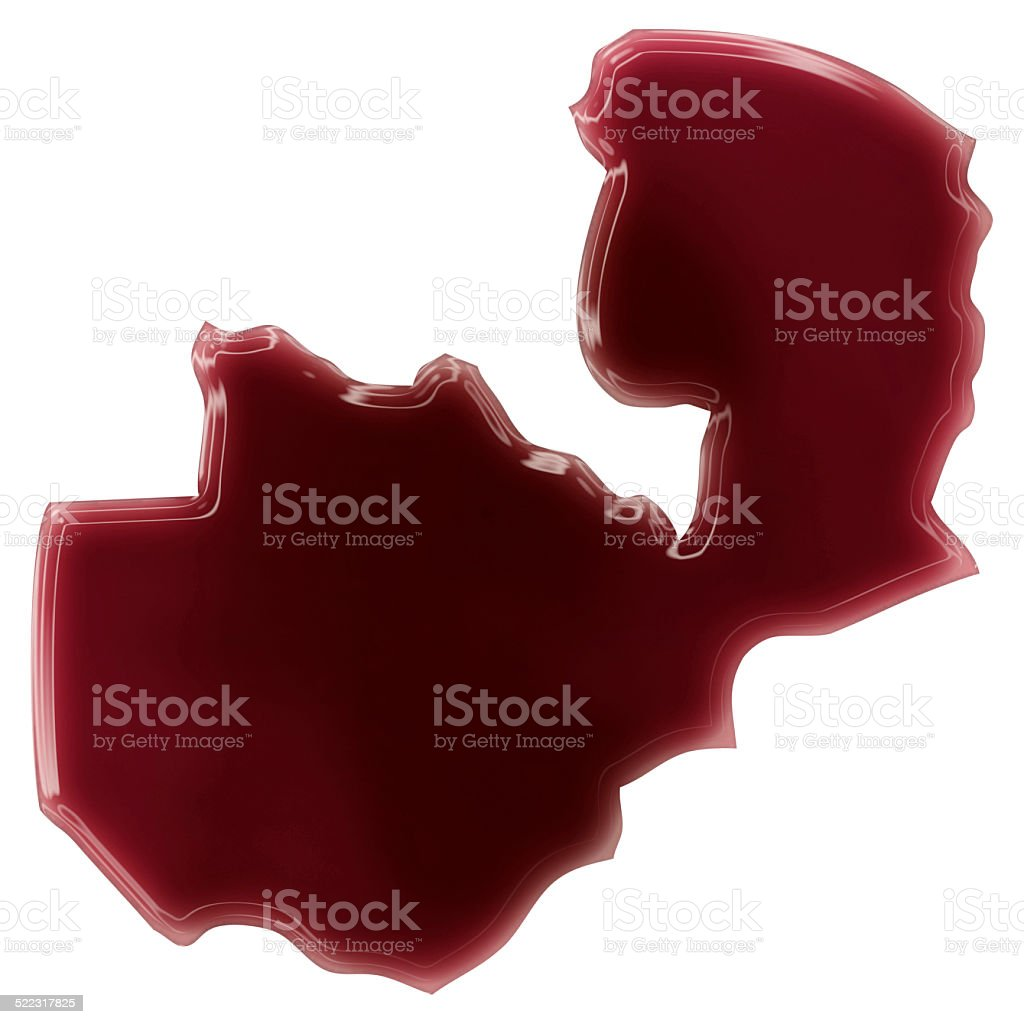 Pool of blood (or wine) shaping Zambia.(series) stock photo
