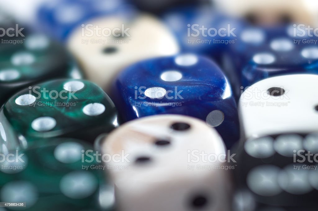 Pool of different dice stock photo