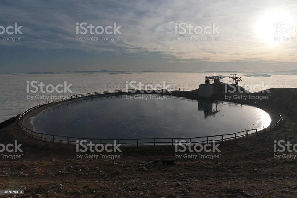 Pool of water for powder snow making royalty-free stock photo