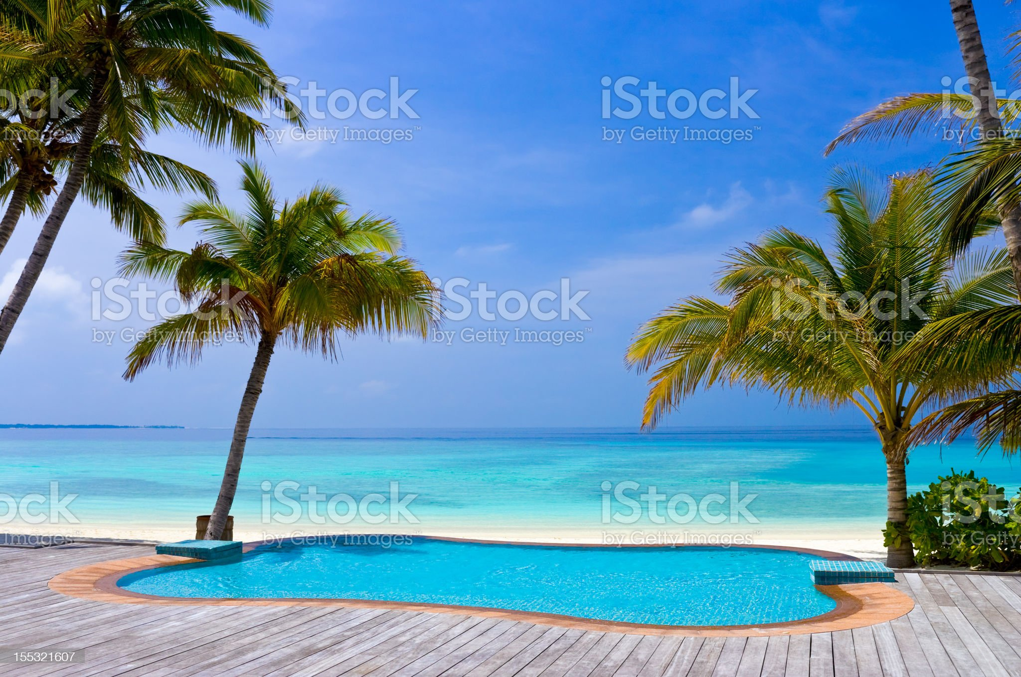 Pool on a tropical beach royalty-free stock photo
