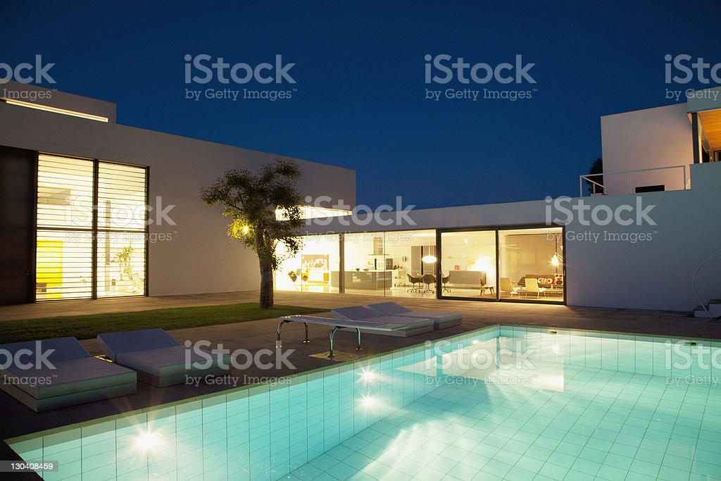 Pool outside modern house at night royalty-free stock photo