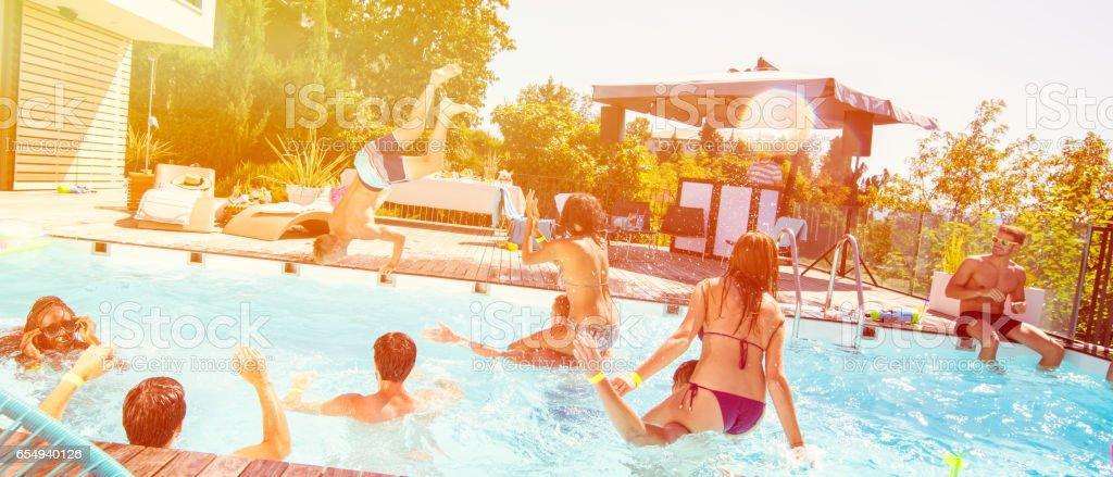 Pool party entertaiment stock photo
