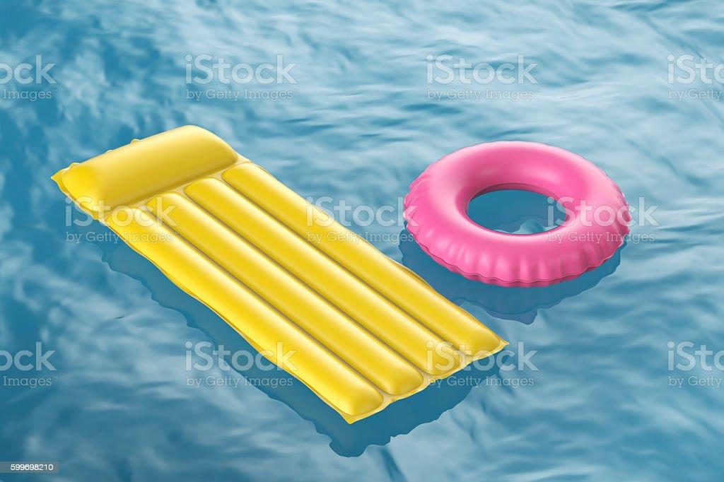 Pool raft and swim ring stock photo