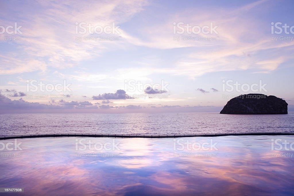 Pool Reflections in Puerto Vallarta Mexico stock photo