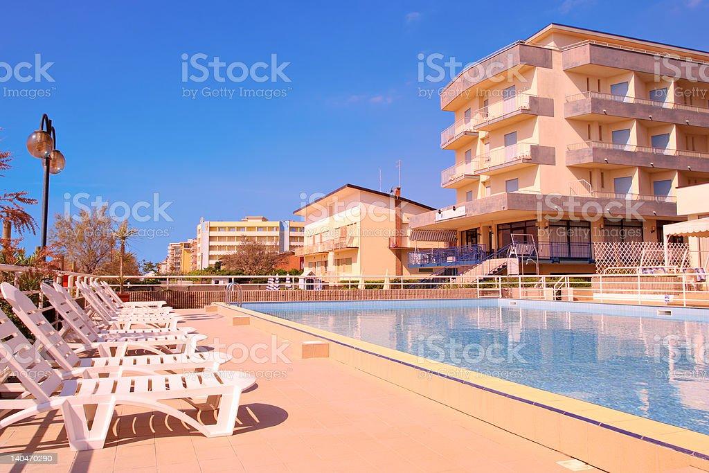 Pool scene from Lido di Jesolo royalty-free stock photo