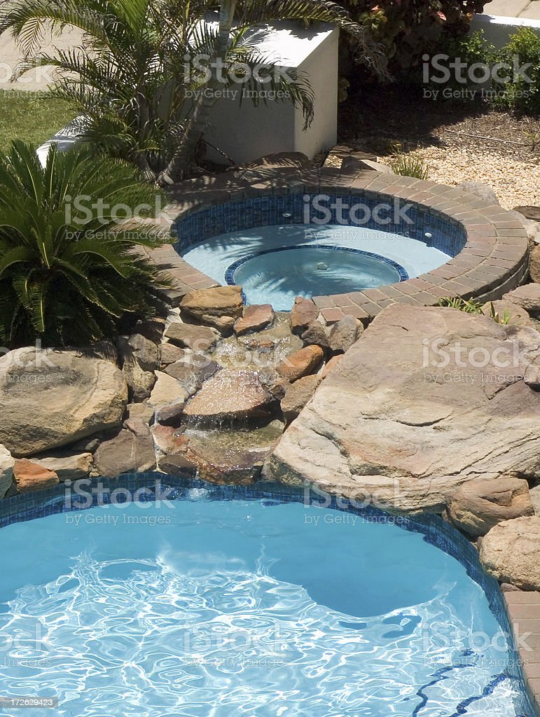 pool, spa and waterfall royalty-free stock photo
