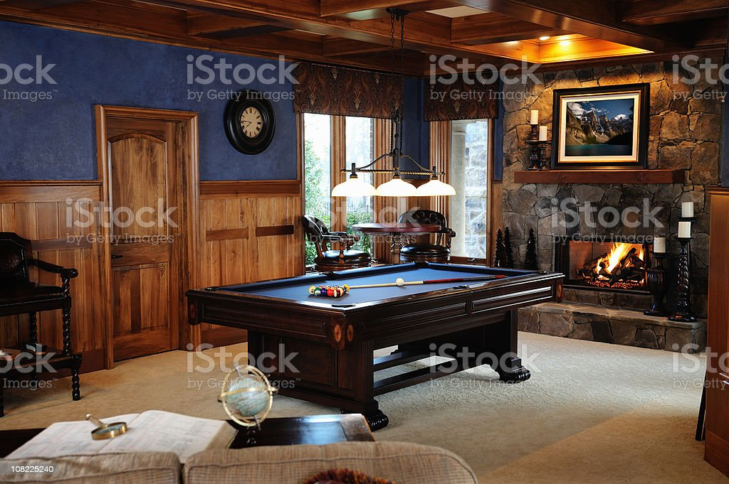 Pool Table in Bonus Room Interior stock photo