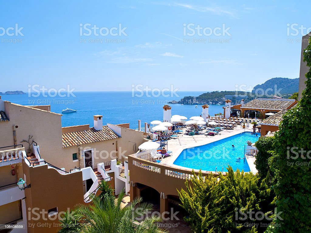 Pool Time in Mallorca, Spain royalty-free stock photo