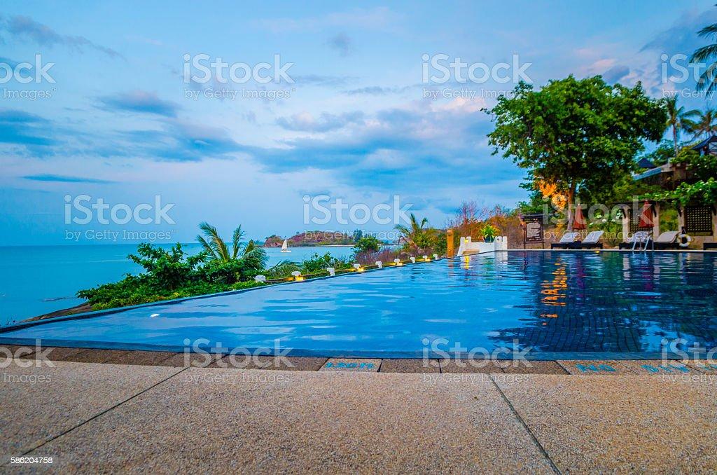 pool villa in sea view stock photo