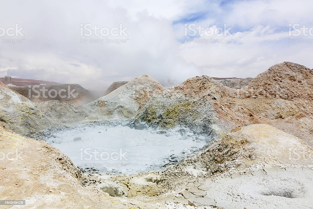 Pool with boiling mud, Bolivia royalty-free stock photo