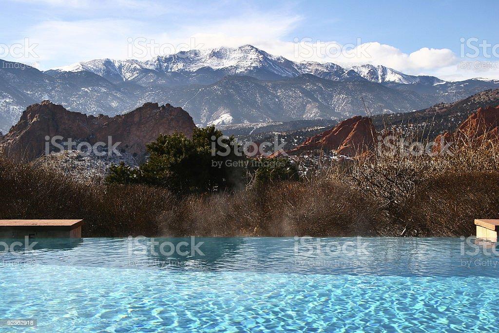 Pool With Mountain View stock photo