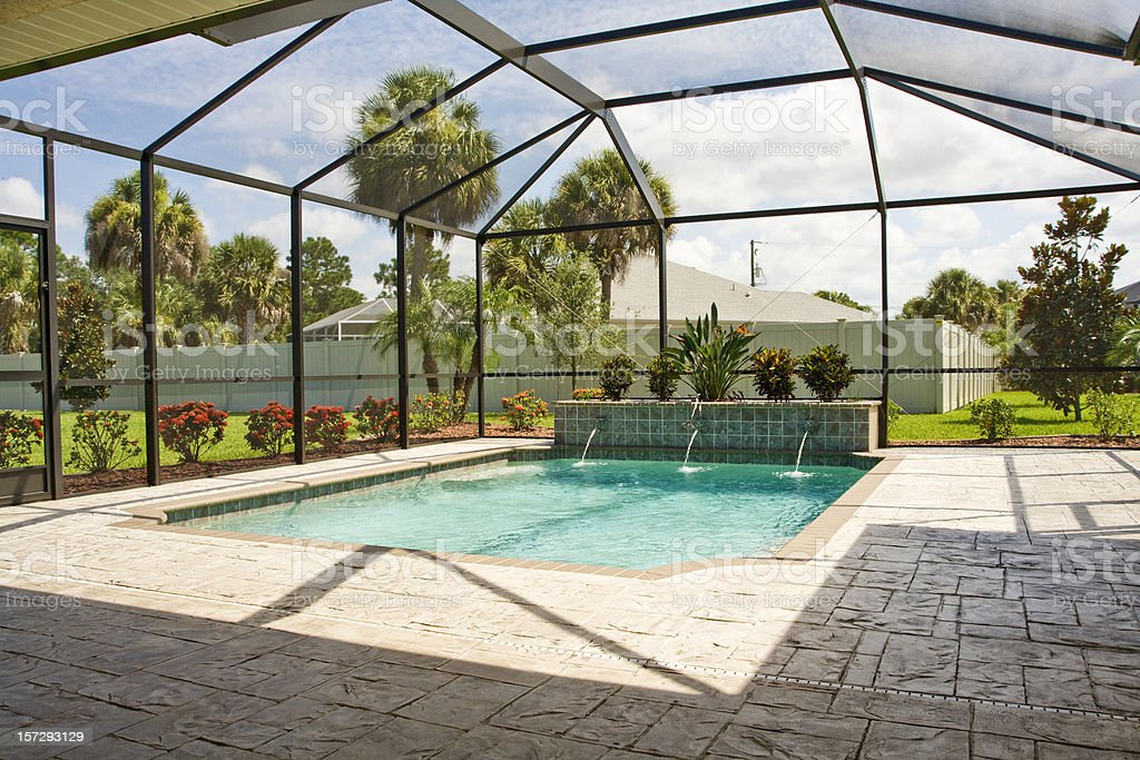 Pool with screen enclosure stock photo