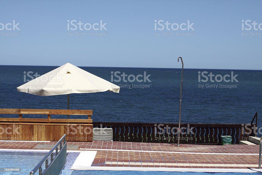 pool with umbrellas royalty-free stock photo