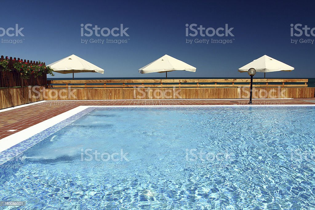 pool with umbrellas royalty-free stock photo