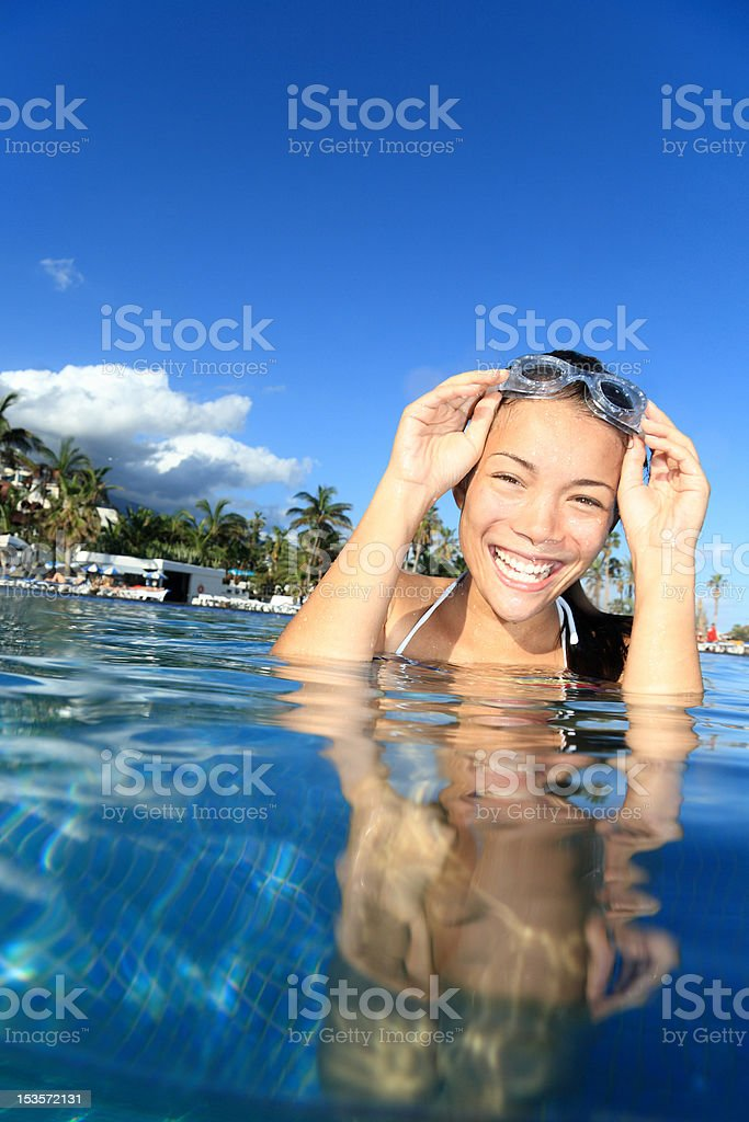 Pool woman on holidays swimming royalty-free stock photo